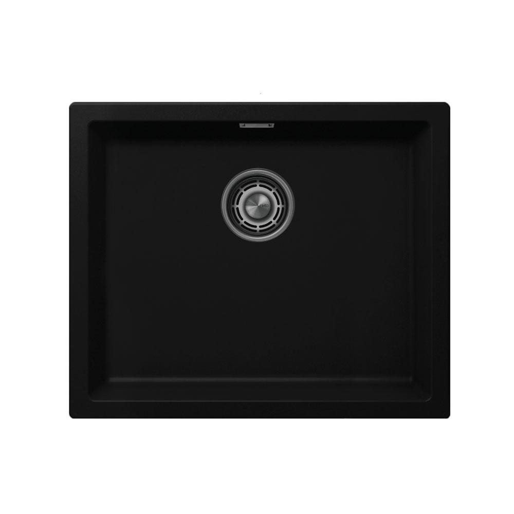 Black Kitchen Basin - Nivito CU-500-GR-BL Brushed Steel Strainer ∕ Waste Kit Color