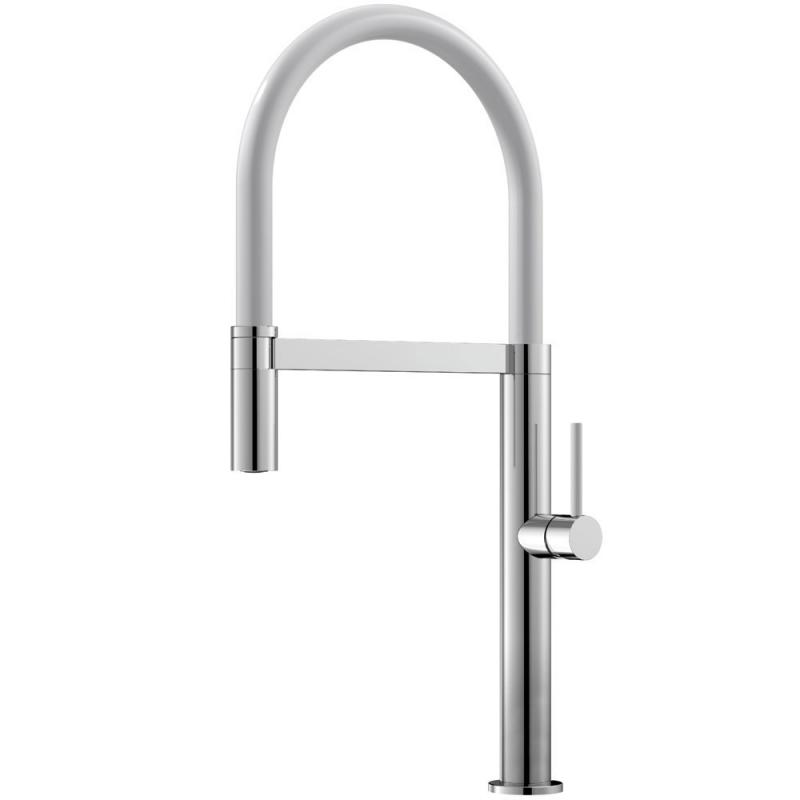 Kitchen Mixer Tap Pullout hose / Polished/White - Nivito SH-310