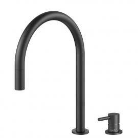 Black Kitchen Mixer Tap Pullout hose / Seperated Body/Pipe - Nivito RH-120-VI