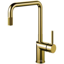 Brass/Gold Kitchen Mixer Tap Pullout hose - Nivito RH-340-EX-IN